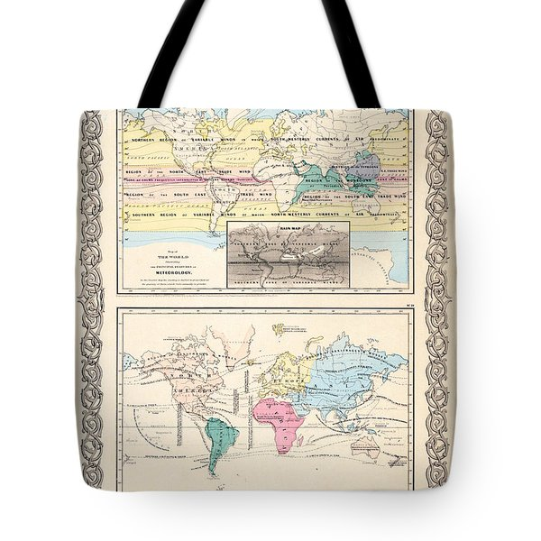 1855 Antique World Maps Illustrating Principal Features Of Meteorology Rain And Principal Plants Tote Bag by Karon Melillo DeVega