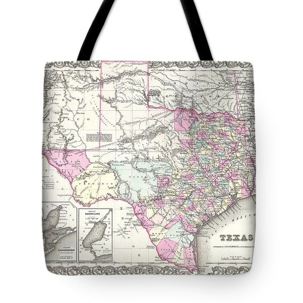 1855 Colton Map Of Texas Tote Bag