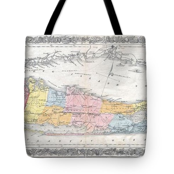 1857 Colton Travellers Map Of Long Island New York Tote Bag