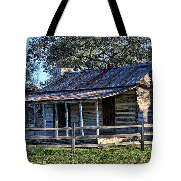 1860 Log Cabins Tote Bag by Linda Phelps