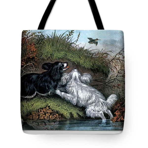 1860s Two Spaniel Dogs Flushing Tote Bag