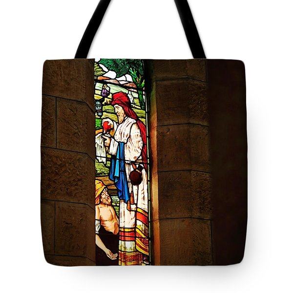 1865 - St. Jude's Church  - Stained Glass Window Tote Bag by Kaye Menner