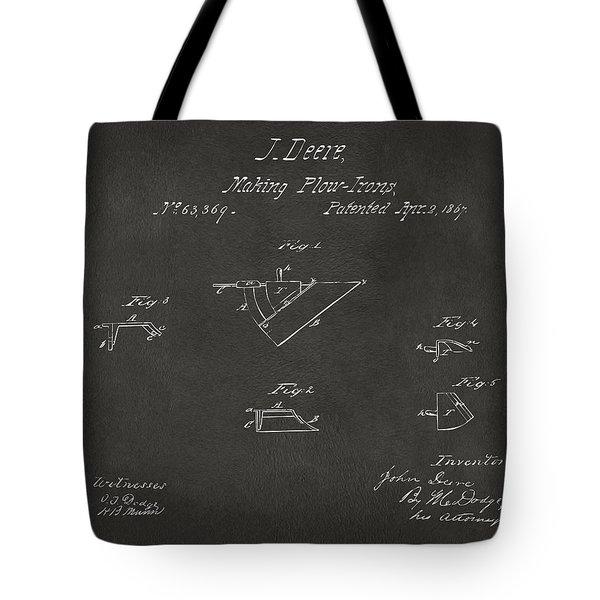 1867 John Deere Plow Irons Patent Gray H Tote Bag