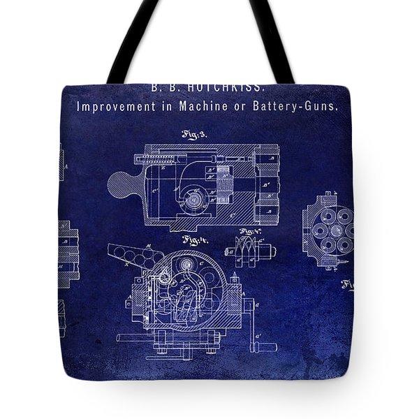 1872 Hotchkiss Machine Gun Patent  Blue Tote Bag