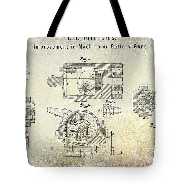 1872 Hotchkiss Machine Gun Patent Tote Bag