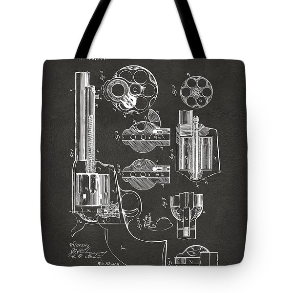 1875 Colt Peacemaker Revolver Patent Artwork - Gray Tote Bag