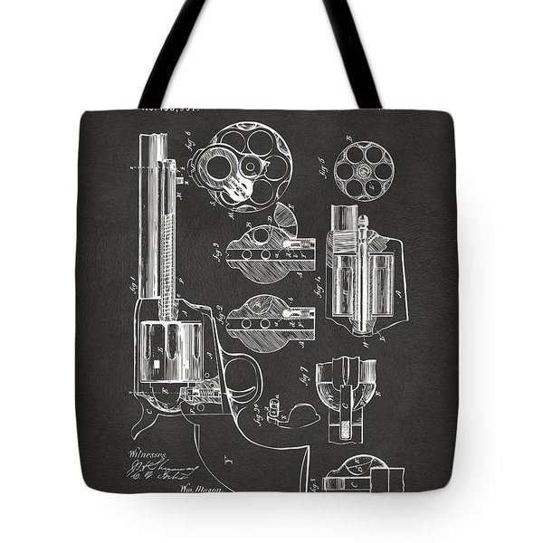 1875 Colt Peacemaker Revolver Patent Artwork - Gray Tote Bag by Nikki Marie Smith