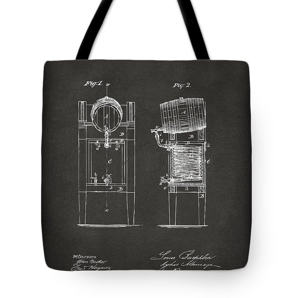 1876 Beer Keg Cooler Patent Artwork - Gray Tote Bag