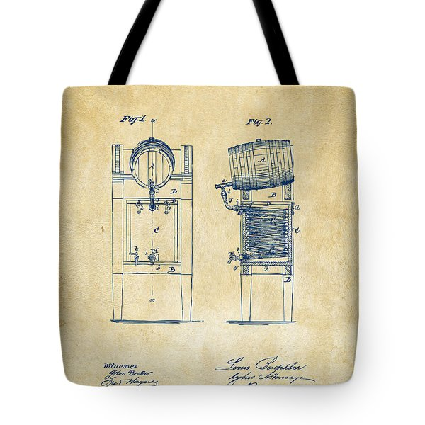 1876 Beer Keg Cooler Patent Artwork - Vintage Tote Bag