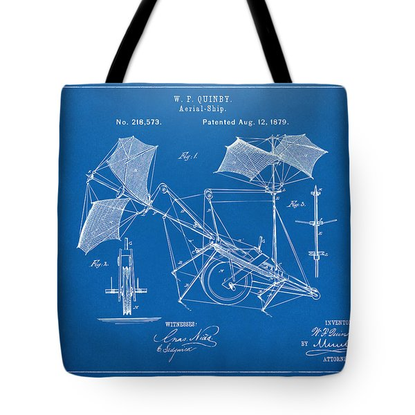 1879 Quinby Aerial Ship Patent - Blueprint Tote Bag by Nikki Marie Smith