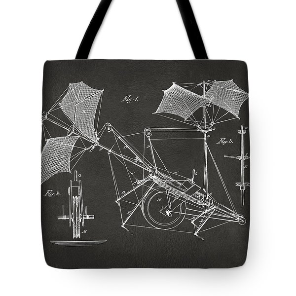 1879 Quinby Aerial Ship Patent Minimal - Gray Tote Bag by Nikki Marie Smith