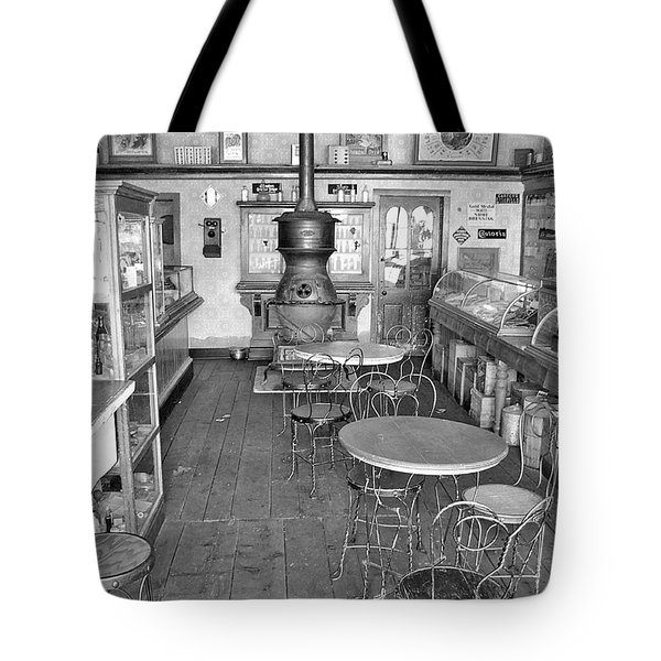 1880 Drug Store Black And White Tote Bag