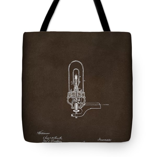 Tote Bag featuring the drawing 1880 Edison Electric Lights Patent Artwork Espresso by Nikki Marie Smith