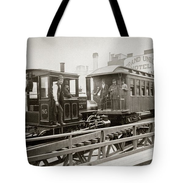 1880s Men On Board Elevated Locomotive Tote Bag