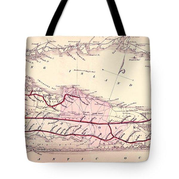 1882 Long Island Railroad Map Tote Bag