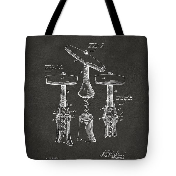 1883 Wine Corckscrew Patent Artwork - Gray Tote Bag