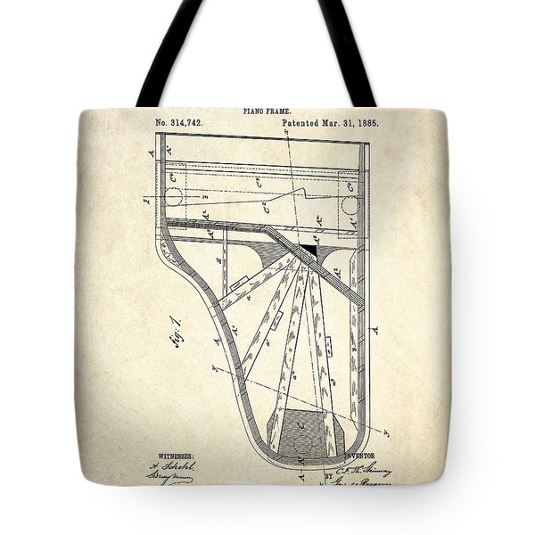 1885 Steinway Piano Frame Patent Art Tote Bag