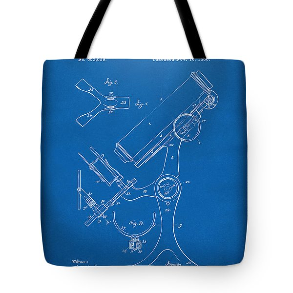 1886 Microscope Patent Artwork - Blueprint Tote Bag by Nikki Marie Smith