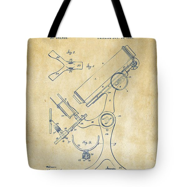 1886 Microscope Patent Artwork - Vintage Tote Bag by Nikki Marie Smith