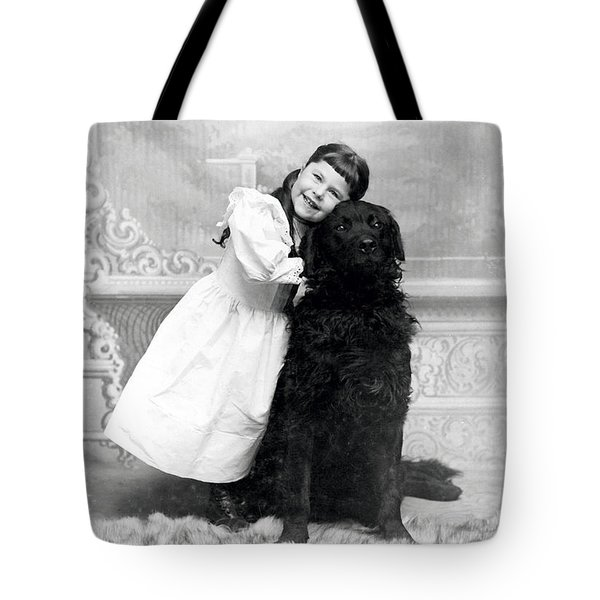 1890 Happy Girl And Her Retriever  Tote Bag
