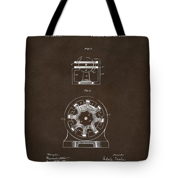 Tote Bag featuring the drawing 1890 Tesla Motor Patent Espresso by Nikki Marie Smith
