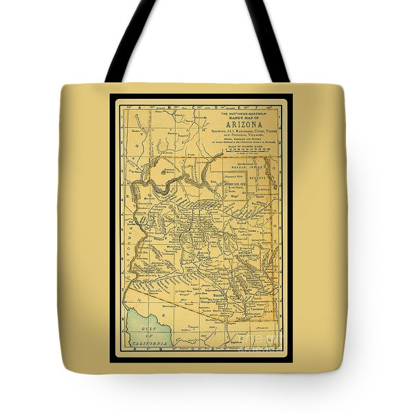 1891 Arizona Map Tote Bag