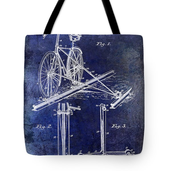1891 Bicycle Patent Drawing Blue Tote Bag