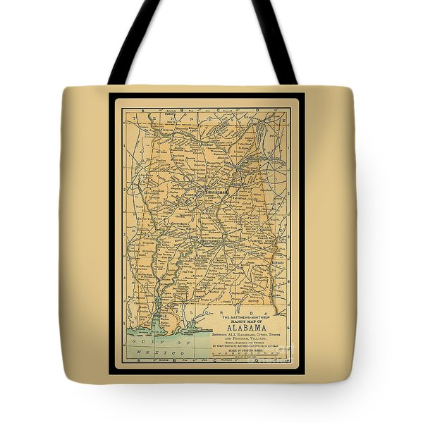 1891 Map Of Alabama Tote Bag