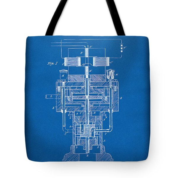 Tote Bag featuring the drawing 1894 Tesla Electric Generator Patent Blueprint by Nikki Marie Smith