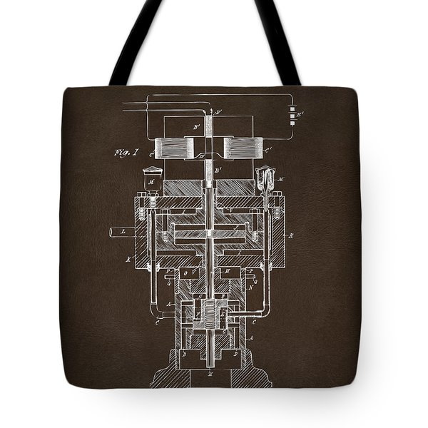 Tote Bag featuring the drawing 1894 Tesla Electric Generator Patent Espresso by Nikki Marie Smith