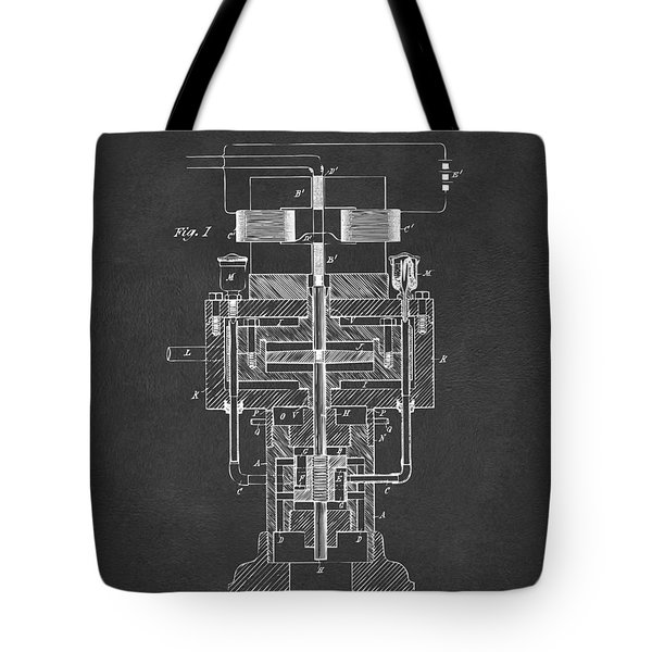 Tote Bag featuring the drawing 1894 Tesla Electric Generator Patent Gray by Nikki Marie Smith