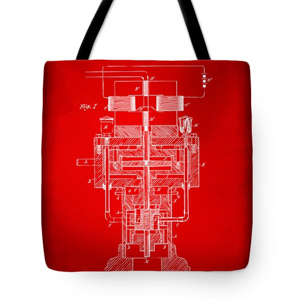 Tote Bag featuring the drawing 1894 Tesla Electric Generator Patent Red by Nikki Marie Smith