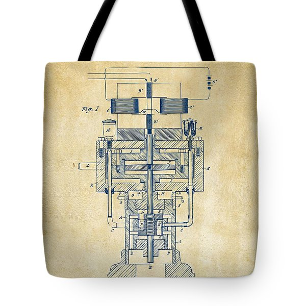 Tote Bag featuring the drawing 1894 Tesla Electric Generator Patent Vintage by Nikki Marie Smith
