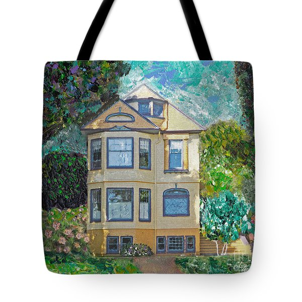 Tote Bag featuring the mixed media Alameda 1895 Quenn Anne by Linda Weinstock