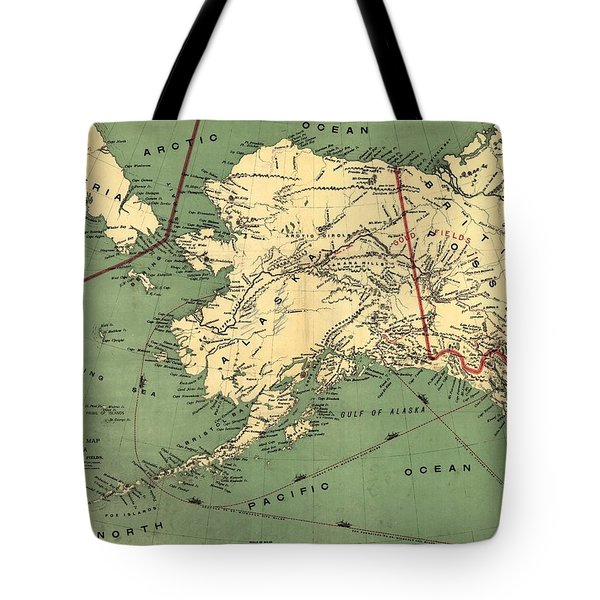 Tote Bag featuring the photograph 1897 Map Of Alaska by Charles Beeler