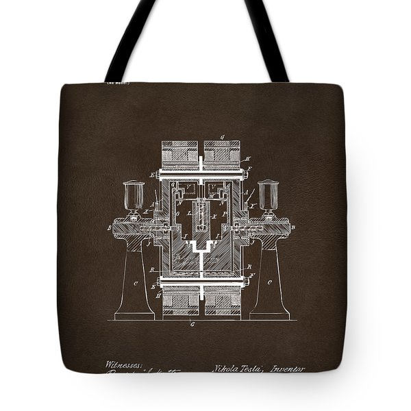 Tote Bag featuring the drawing 1898 Tesla Electric Circuit Patent Artwork Espresso by Nikki Marie Smith