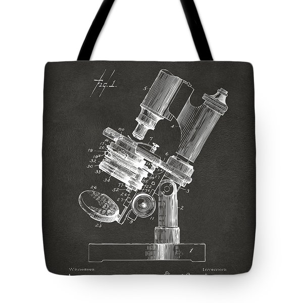 1899 Microscope Patent Gray Tote Bag