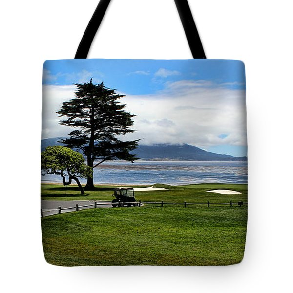 18th At Pebble Beach Panorama Tote Bag by Judy Vincent