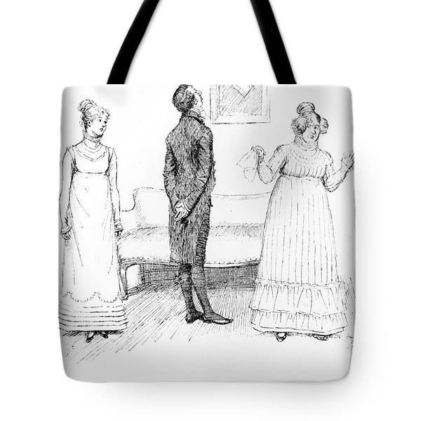 Scene From Pride And Prejudice By Jane Austen Tote Bag by Hugh Thomson