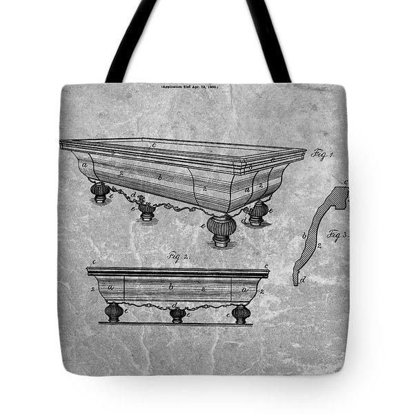 1900 Pool Table Patent Tote Bag