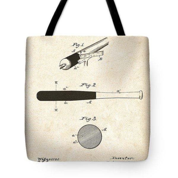 1902 Baseball Bat Patent Tote Bag by Bill Cannon