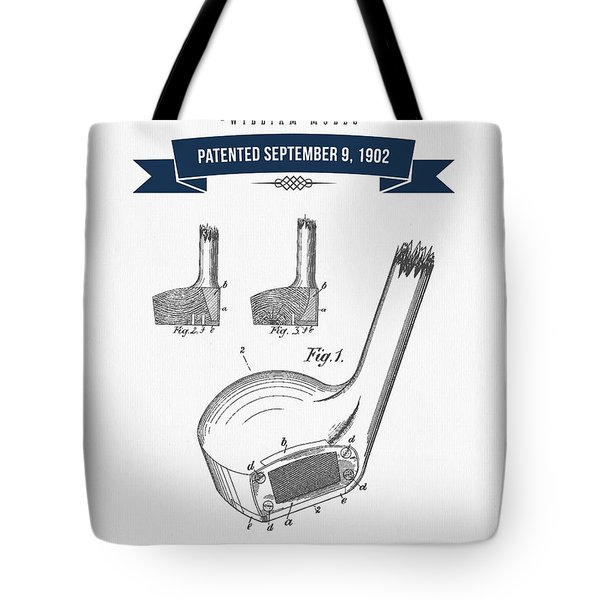1902 Mules Golf Club Patent Drawing - Retro Navy Blue Tote Bag by Aged Pixel