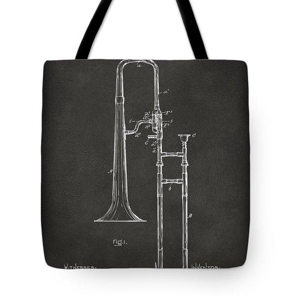 1902 Slide Trombone Patent Artwork - Gray Tote Bag