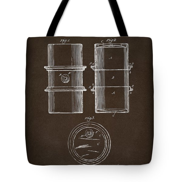 Tote Bag featuring the drawing 1905 Oil Drum Patent Artwork Espresso by Nikki Marie Smith