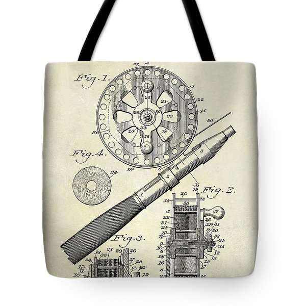 1906 Fishing Reel Patent Drawing Tote Bag by Jon Neidert