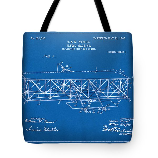 1906 Wright Brothers Flying Machine Patent Blueprint Tote Bag