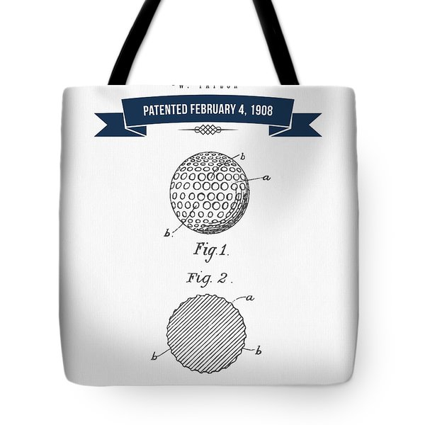 1908 Taylor Golf Ball Patent Drawing - Retro Navy Blue Tote Bag by Aged Pixel