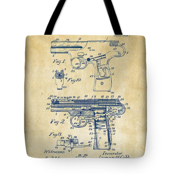1911 Automatic Firearm Patent Artwork - Vintage Tote Bag by Nikki Marie Smith