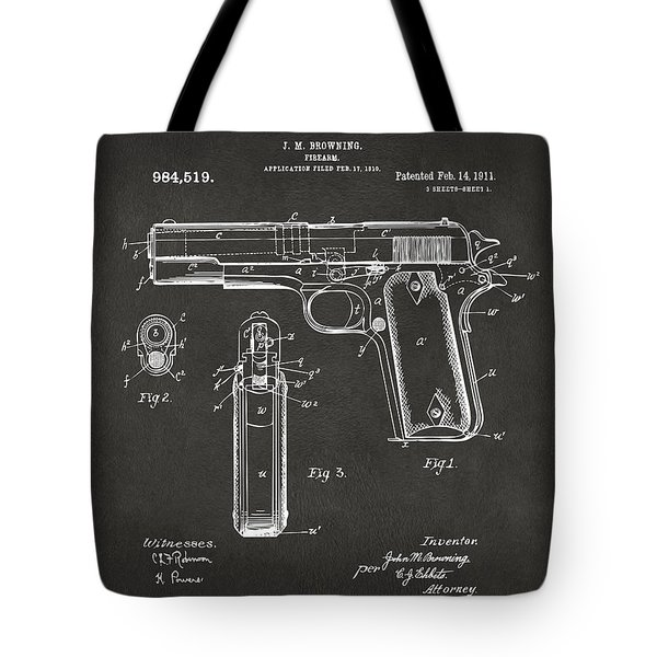 1911 Browning Firearm Patent Artwork - Gray Tote Bag