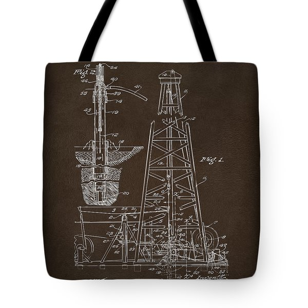 Tote Bag featuring the drawing 1911 Oil Drilling Rig Patent Artwork - Espresso by Nikki Marie Smith